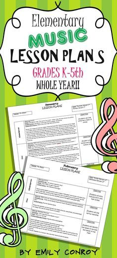 Elementary Music Lessons Plans-These plans are creative and concise. Grades K-5 for the whole year!
