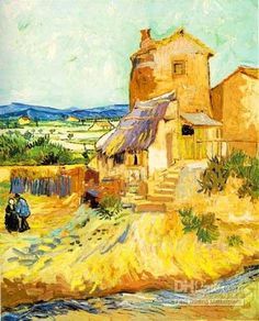 Van Gogh, Old Mill - lovely range of warm yellows and oranges and great use of complementary purple on the roof in the middle of the picture