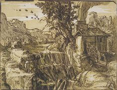 Hendrik Goltzius (1558-1617) - Landscape with a Waterfall, 1597-1600