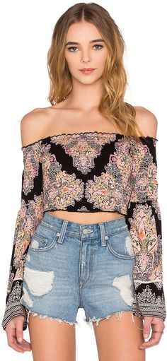 Band of Gypsies Printed Off the Shoulder Long Sleeve Crop Top