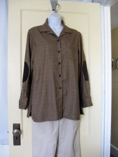 Vintage Ralph Lauren Brown Plaid Wool Shirt with Brown Leather Patch elbows size  Small
