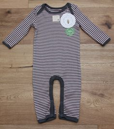 Burts Bees Baby Two Piece Outfit white Pink striped footed Organic hat coverall