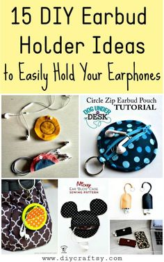 15 DIY Earbud Holder Ideas to Easily Hold Your Earphones Easy Crafts To Sell, Easy Arts And Crafts, Crafts For Girls, Diy Crafts, Cool Diy Projects, Diy Projects For Teens, Earbud Holder Diy, Cord Holder, Earphones Wrap