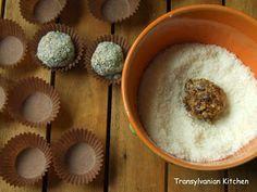 Transylvanian Kitchen: Bomboane din curmale şi cocos Pudding, Kitchen, Desserts, Food, Tailgate Desserts, Cooking, Deserts, Puddings, Meals