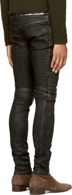 Balmain Black Coated Biker Jeans