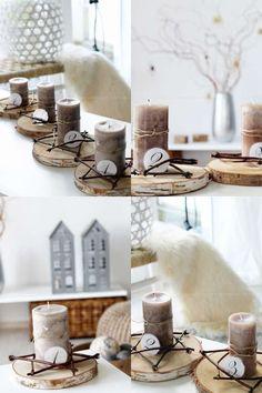 Bougeoirs calendrier de l'Avent avec des rondins de bois