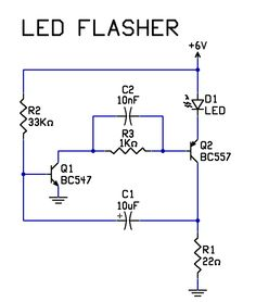 Very Simple 2 Transistor LED Flasher Circuit