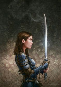 Fantasy illustration by freelance artist Luisa J. Book cover illustration and card art for trading cards and games. Fantasy Warrior, Fantasy Girl, Warrior Girl, High Fantasy, Fantasy Women, Fantasy Rpg, Medieval Fantasy, Fantasy Artwork, Fantasy Makeup