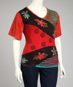 Look at this #zulilyfind! Red Flower Tee - Plus by Rising International #zulilyfinds