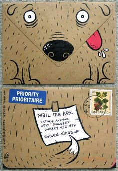 adorable. I love this envelope. Would have been cool to put the return address in his mouth on the back side.