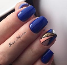 New Ideas Gel Manicure Designs Short Nails Blue Fabulous Nails, Gorgeous Nails, Simple Nail Designs, Nail Art Designs, Pretty Nail Colors, Geometric Nail, Hot Nails, Blue Nails, Nail Arts