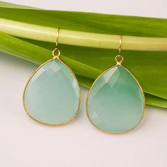 10% Off - Aqua Blue Chalcedony Earrings - Sea Foam Chalcedony - Bezel Gemstone Earrings. $98.00, via Etsy.