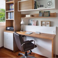 Mix of shelving and drawer storage, natural wood and white Home Office Table, Home Desk, Home Office Space, Home Office Design, Home Office Decor, Home Interior Design, House Design, Study Table Designs, Study Room Design