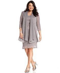 $89  R&M Richards Plus Size Sleeveless Metallic Dress and Jacket - Mother of the Bride - Women - Macy's