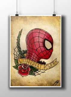 The Amazing Spiderman Tattoo Parlour Poster Print