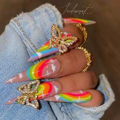 Crazy Acrylic Nails, Colourful Acrylic Nails, Bling Acrylic Nails, Acrylic Nail Designs, Bright Summer Acrylic Nails, Crazy Nails, Edgy Nails, Glam Nails, Bling Nails