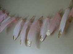 Gold Glitter Dipped Feathers for Garland Banner by WildOneFeathers
