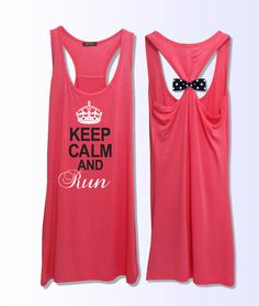 Keep Calm and run  work out  fitness  bow tank top 3 by VintTime, $24.00