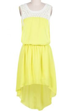 Yellow Sleeveless Rhinestone Lace High Low Dress pictures