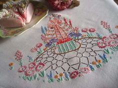 Stunning Vintage Embroidered Crinoline Lady Tablecloth Oriental Looking Dress