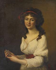 After VIGÉE-LEBRUN Louise-Élisabeth, 1755-1842, Portrait of a Lady Holding a Miniature.
