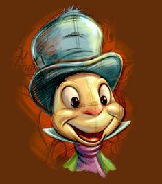 Jiminy Cricket is our conscience but it's live bait for a sociopath frog! Disney Posters, Disney Cartoons, Disney Love, Disney Magic, Pinocchio Disney, Disney Drawings Sketches, Cartoon Drawings, Mickey Mouse Images, Disney Fine Art