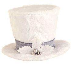 "RAZ Holly Top Hat  White Made of Cardboard Measures 6"" X 10""   RAZ Exclusive  Top hat covered in white plush, silver band and sprig of white holly with silver bells. RAZ 2014 Arctic"