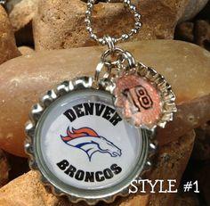 Denver Broncos NFL Necklace Football Team Bottle cap