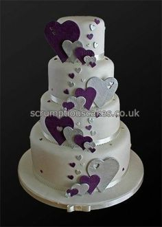 Wedding Cake - Purple & Silver Hearts by Scrumptious Cakes (Paula-Jane), instead of flowers like it Heart Wedding Cakes, Wedding Cakes With Cupcakes, Beautiful Wedding Cakes, Gorgeous Cakes, Pretty Cakes, Wedding Cakes With Hearts, Amazing Cakes, Cake Wedding, Purple Cakes