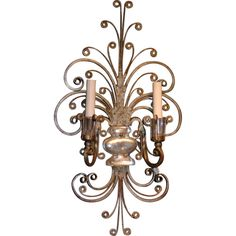 Belgian Glass and Metal Sconce