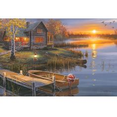 This exciting Autumn Lake Cabin is a wrapped canvas art featuring beautiful licensed art by a renowned artist. With long lasting and energy efficient LED lighting incorporated into the design, the pri