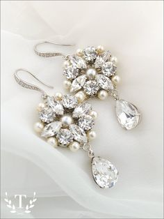 Couture wedding earrings vintage glam bridal by TigerlillyCouture