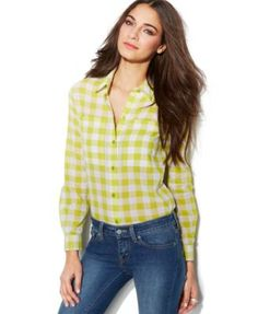 Michael Michael Kors Petite Water Plaid Long-Sleeve Shirt