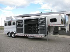 GFK Trailer Sales | New Trailer for Sale, 2016 Hart Smart Tack 4 Horse Gooseneck 7'6 wide 7'4 tall. No mangers. Hay Rack, Aluminum Wheels, 14 Ply Tires, Folding Rear Tack