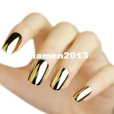argent artificiel nail tips or gros faux ongles conceptions de mode populaire métal faux