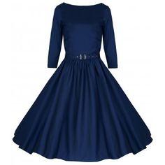LINDY BOP 'HOLLY' VINTAGE 1950'S BLUE SWING ROCKABILLY AUDREY HEPBURN STYLE 3/4 SLEEVE DRESS   £29.99