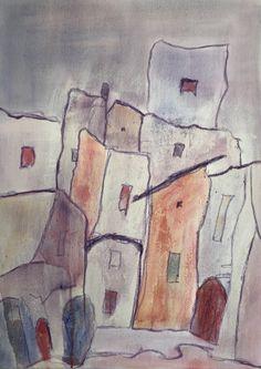 Bergdorf 50 x 70 cm Painting, Art, Abstract, Art Background, Painting Art, Paintings, Kunst, Drawings, Art Education