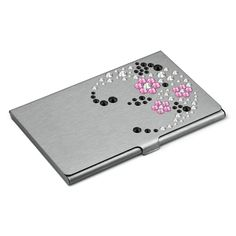"Card holder Hand Made decorated with SWAROVSKI® ELEMENTS ""Flowers Pink"""
