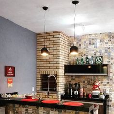 @nivia.garcia Barbecue Area, Bbq Grill, Parrilla Interior, Mini Loft, Sweet Home, Bar Areas, House Design, Table, Room