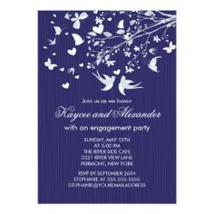Modern Love Birds Engagement Party Invitations
