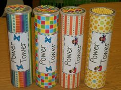 Game for sight words. Canister is filled with cups and each cup has a sight word on it.  When a sight word is read correctly, they can start building a tower.  If they get a word wrong or knock over the tower or the tower falls, they have to start over.