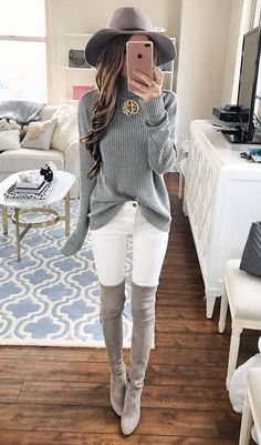 grey knitted sweater with overknee boots pastel casual style