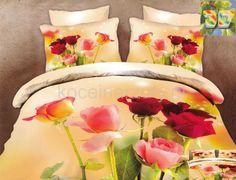 Pościel na łóżko w kolorze kremowym w kolorowe róże