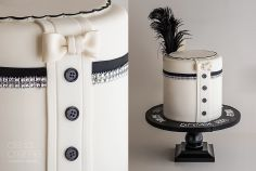 Harlem Nights (2-sided, His & Hers) Cake. 1930s. Flapper. Black and White. Hand-painted. Tuxedo.