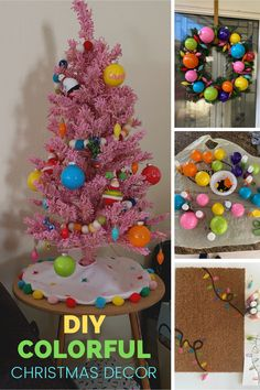 Learn how to create a colorful Christmas theme for your home this holiday season. Grab your paints, clear ornaments, and turn up the holiday tunes to create a merry and bright theme! This will make you feel like you're walking thru it's a small world holiday. Pink Christmas Tree, Merry Christmas To All, Christmas Themes, Christmas Lights, Holiday Decor, Cricut Banner, Clear Plastic Ornaments, Best Housewarming Gifts, Merry And Bright