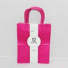 Medium Kraft Bags: Primary Magenta 12ct