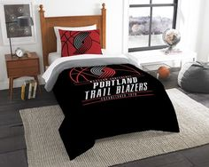 Portland Trail Blazers NBA Reverse Slam Twin Comforter and Sham Set. Includes 1 Sham and 1 Twin Comforter. Visit SportsFansPlus.com for Details.