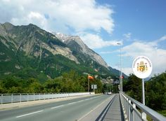 Since 1923 there has been no border control between Liechtenstein and Switzerland. This is the bridge to Balzers.