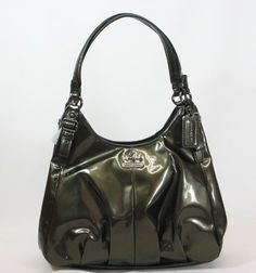Coach Madison Patent Leather Maggie Shoulder Bag Purse Tote Pewter Ships Free | eBay