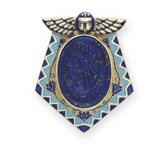 Egyptian Revival Lapis Lazuli, Enamel and Gold brooch c1925